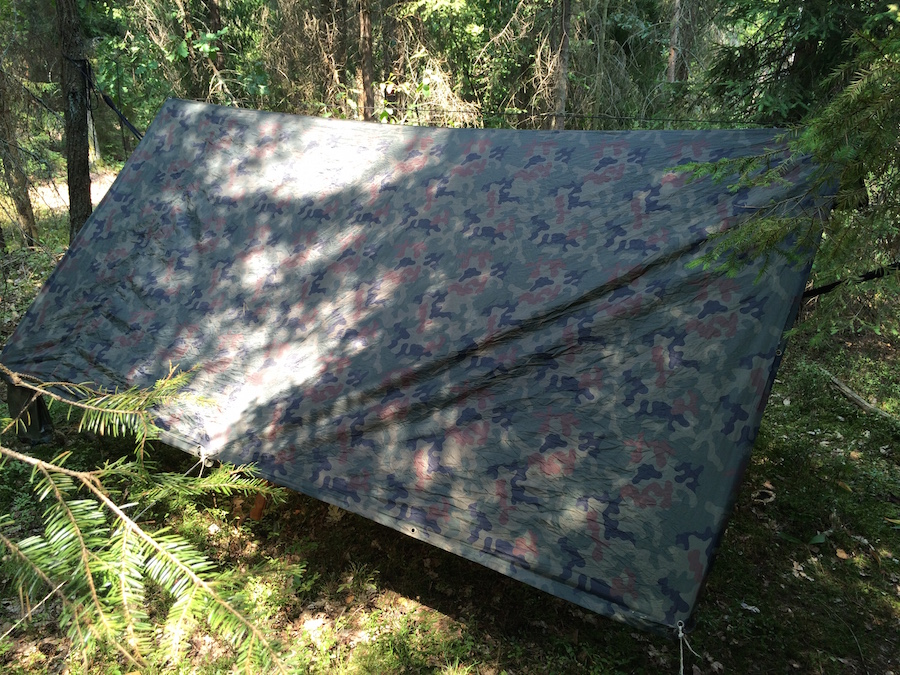 Tarp with hammock rear view